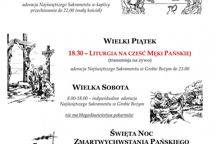 Zaproszenie na Triduum Paschalne no-line do parafii Najświętszej Eucharystii w Łodzi