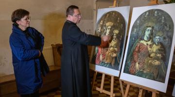 Obraz Matki Bożej z Dzieciątkiem z kościoła św. Mateusza w Pabianicach po renowacji – 2020