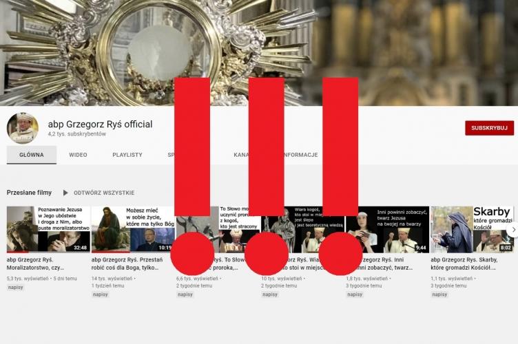 Oświadczenie w sprawie konta abp Grzegorz Ryś official na kanale YouTube